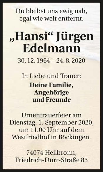 Traueranzeige von Jürgen Edelmann von GESAMT