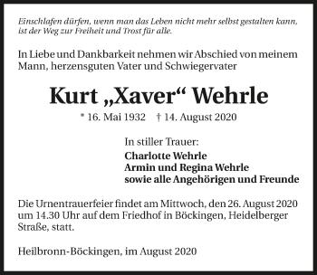 Traueranzeige von Kurt Wehrle von GESAMT