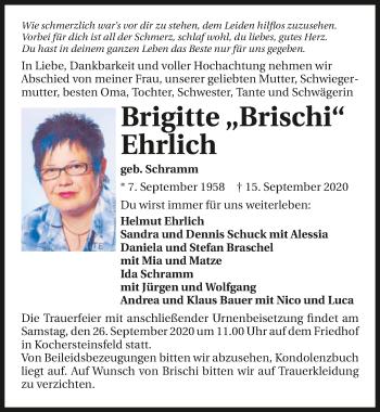 Traueranzeige von Brigitte Ehrlich von GESAMT