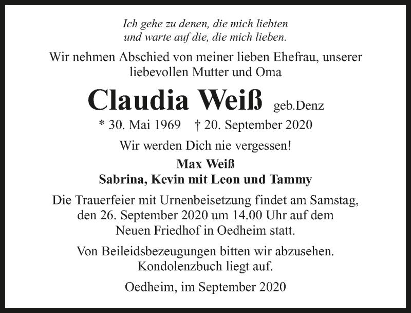 Traueranzeige für Claudia Weiß vom 23.09.2020 aus GESAMT