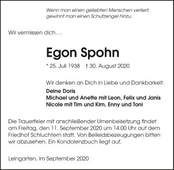 Traueranzeige von Egon Spohn von GESAMT