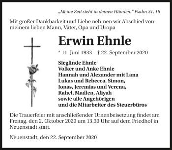 Traueranzeige von Erwin Ehnle von GESAMT