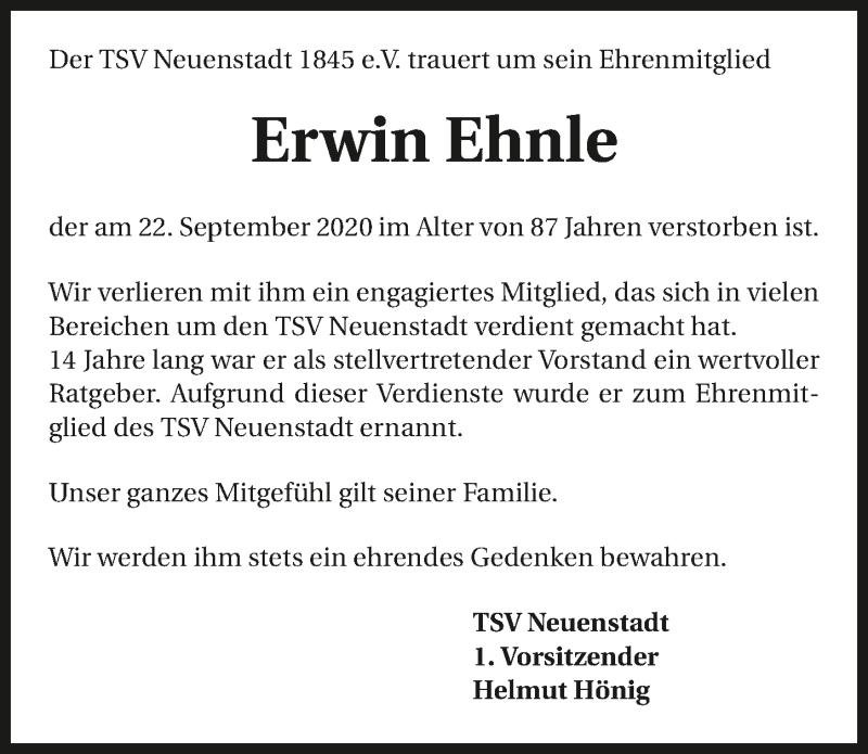 Traueranzeige für Erwin Ehnle vom 30.09.2020 aus GESAMT