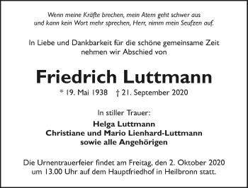 Traueranzeige von Friedrich Luttmann von GESAMT