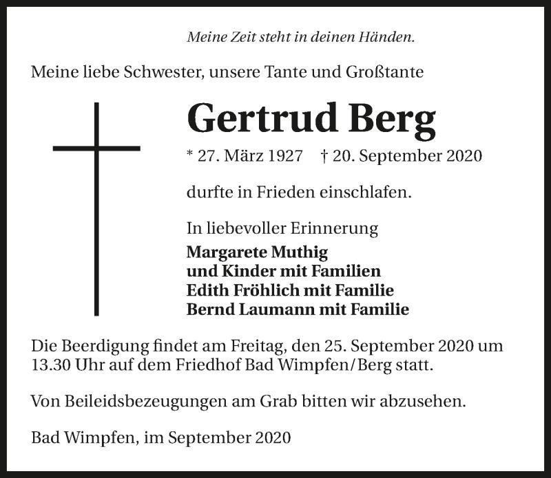 Traueranzeige für Gertrud Berg vom 23.09.2020 aus GESAMT