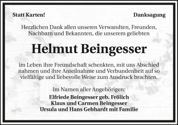 Traueranzeige von Helmut Beingesser von GESAMT