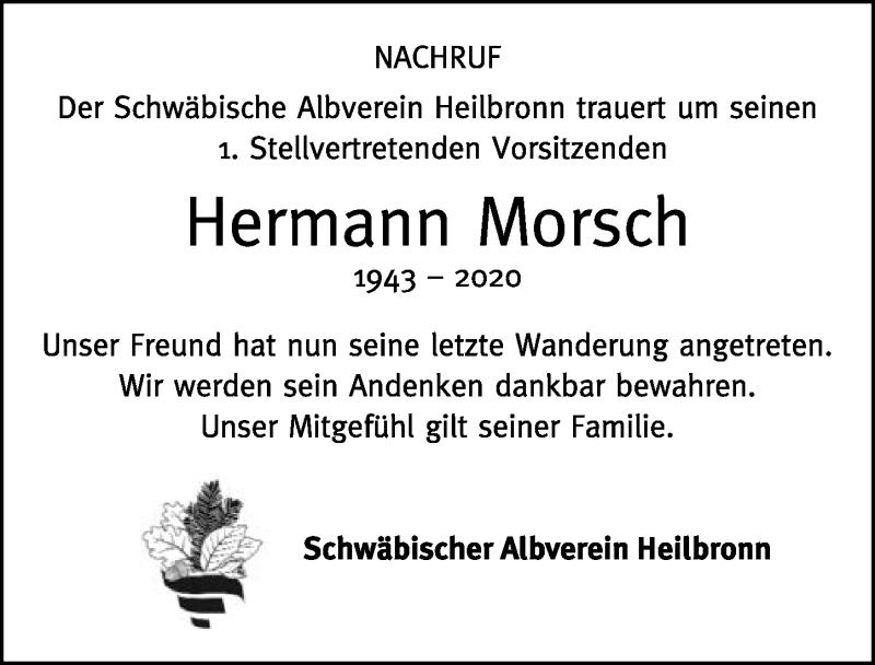 Traueranzeige für Hermann Morsch vom 26.09.2020 aus GESAMT