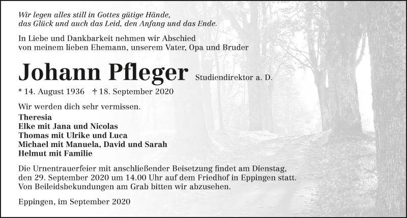 Traueranzeige für Johann Pfleger vom 25.09.2020 aus GESAMT
