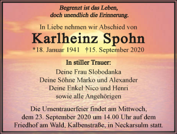 Traueranzeige von Karlheinz Spohn von GESAMT
