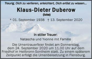 Traueranzeige von Klaus-Dieter Duberow von GESAMT