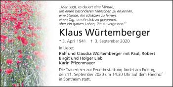 Traueranzeige von Klaus Würtemberger von GESAMT