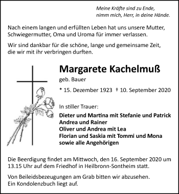 Traueranzeige von Margarete Kachelmuß von GESAMT