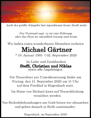 Traueranzeige von Michael Gärtner von GESAMT