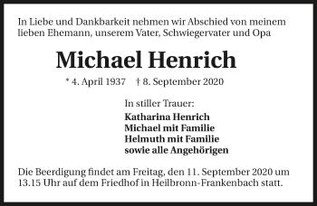 Traueranzeige von Michael Henrich von GESAMT