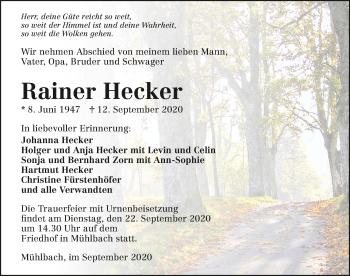 Traueranzeige von Rainer Hecker von GESAMT