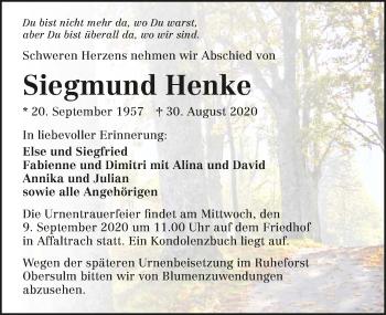 Traueranzeige von Siegmund Henke von GESAMT
