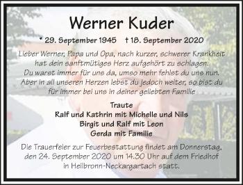 Traueranzeige von Werner Kuder von GESAMT