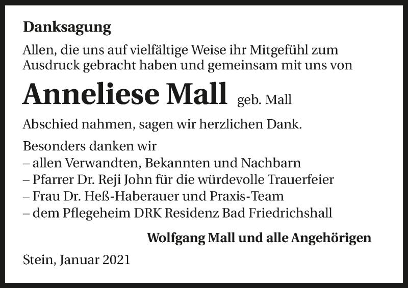 Traueranzeige für Anneliese Mall vom 09.01.2021 aus GESAMT