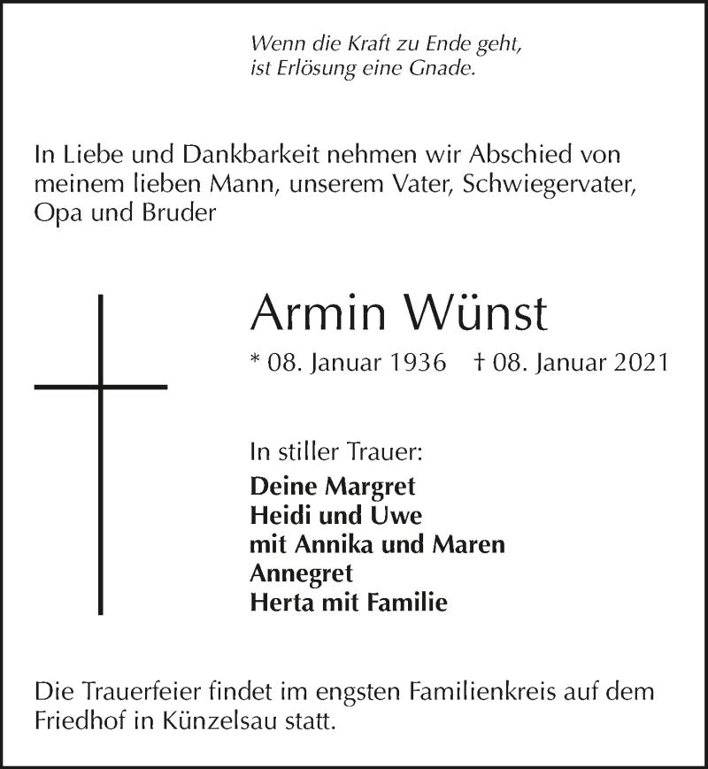 Traueranzeige für Armin Wünst vom 14.01.2021 aus GESAMT