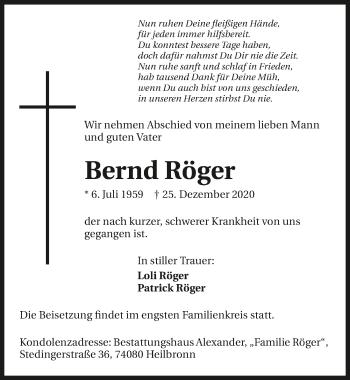 Traueranzeige von Bernd Röger von GESAMT