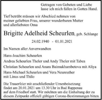 Traueranzeige von Brigitte Scheurlen von GESAMT