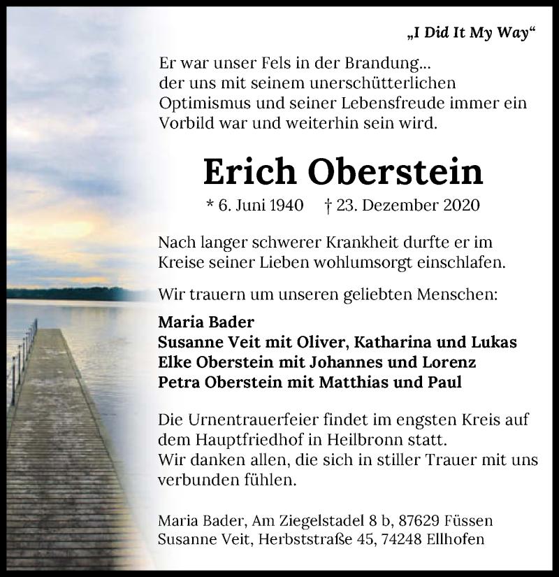 Traueranzeige für Erich Oberstein vom 02.01.2021 aus GESAMT