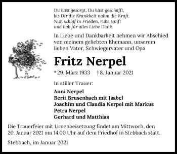 Traueranzeige von Fritz Nerpel von GESAMT