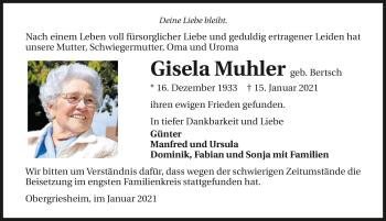 Traueranzeige von Gisela Muhler von GESAMT