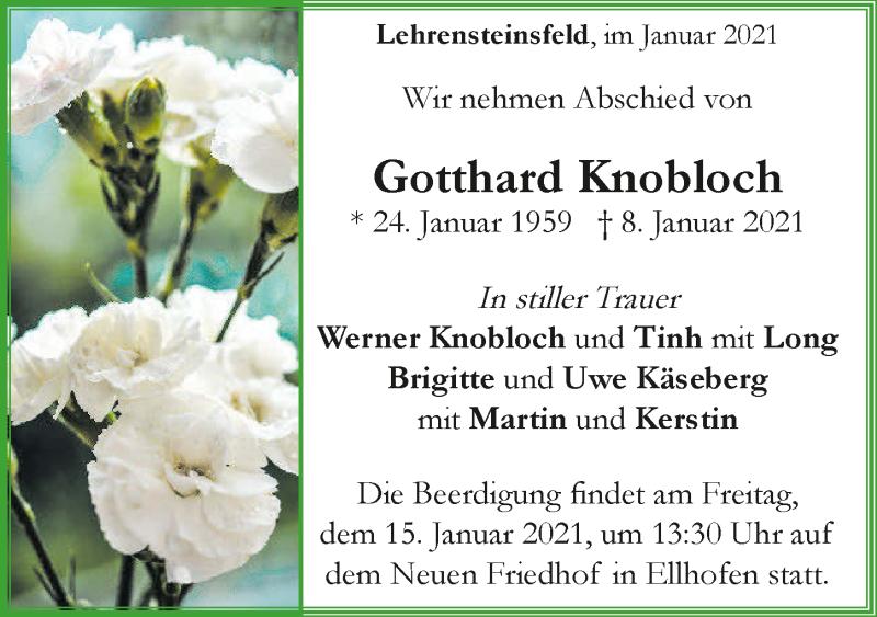 Traueranzeige für Gotthard Knobloch vom 12.01.2021 aus GESAMT