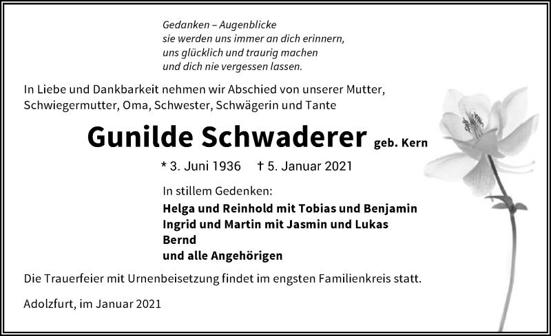 Traueranzeige für Gunilde Schwaderer vom 14.01.2021 aus GESAMT