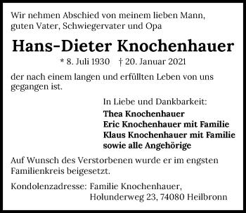 Traueranzeige von Hans-Dieter Knochenhauer von GESAMT
