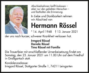 Traueranzeige von Hermann Rössel von GESAMT