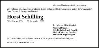 Traueranzeige von Horst Schilling von GESAMT