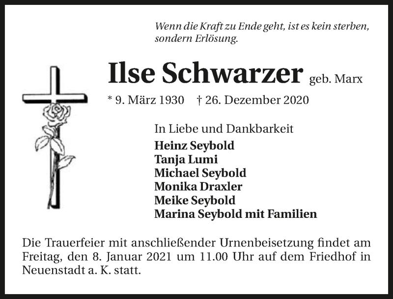 Traueranzeige für Ilse Schwarzer vom 07.01.2021 aus GESAMT