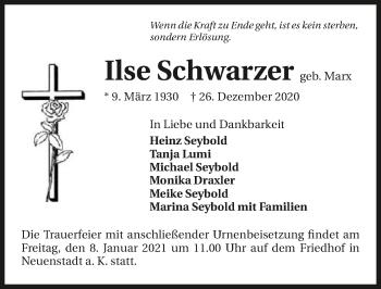 Traueranzeige von Ilse Schwarzer von GESAMT
