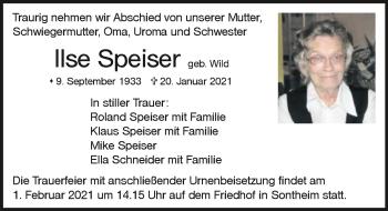 Traueranzeige von Ilse Speiser von GESAMT