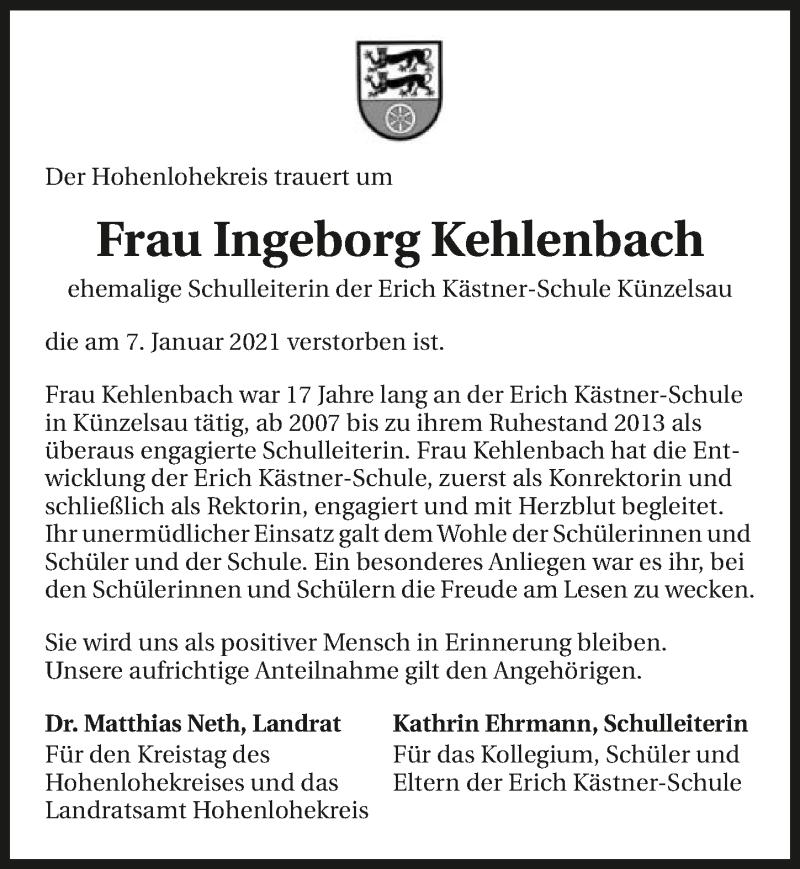 Traueranzeige für Ingeborg Kehlenbach vom 14.01.2021 aus GESAMT