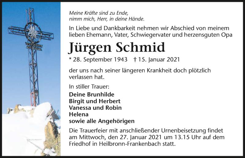 Traueranzeige für Jürgen Schmid vom 20.01.2021 aus GESAMT