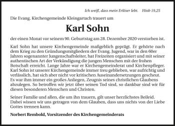 Traueranzeige von Karl Sohn von GESAMT