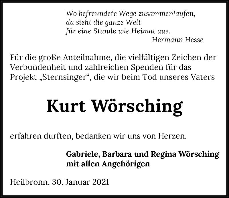Traueranzeige für Kurt Wörsching vom 30.01.2021 aus GESAMT
