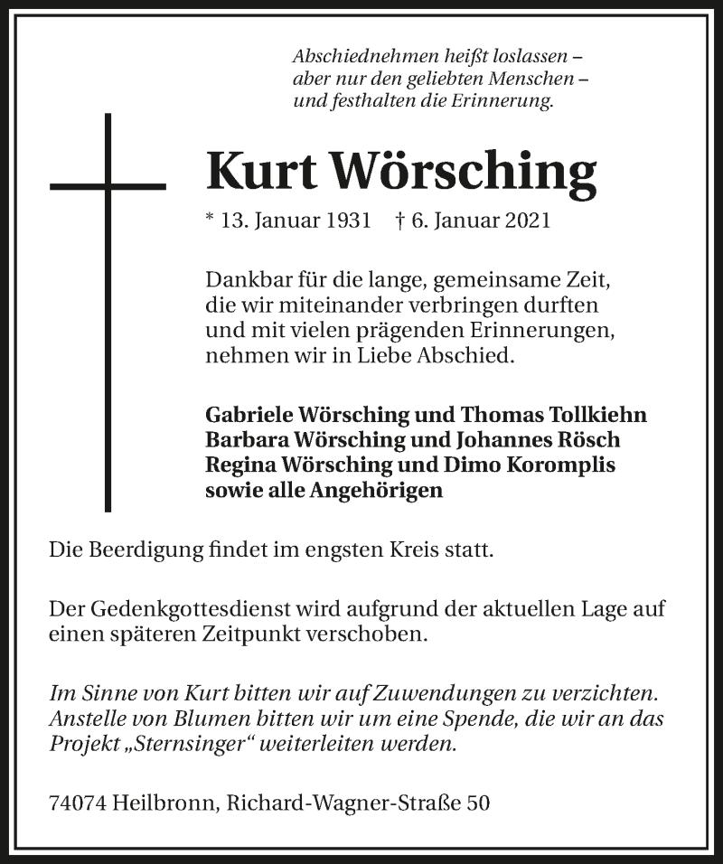 Traueranzeige für Kurt Wörsching vom 11.01.2021 aus GESAMT