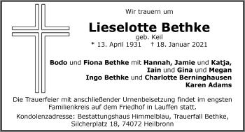 Traueranzeige von Lieselotte Bethke von GESAMT