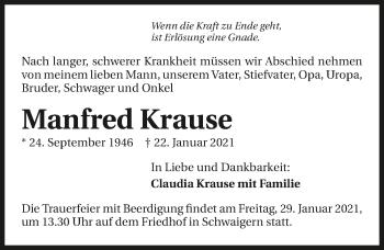 Traueranzeige von Manfred Krause von GESAMT