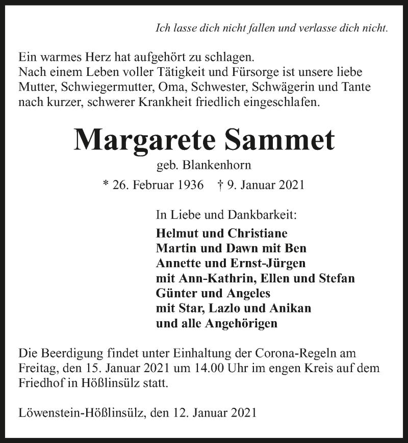 Traueranzeige für Margarete Sammet vom 12.01.2021 aus GESAMT