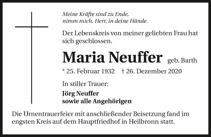 Traueranzeige für Maria Neuffer vom 09.01.2021 aus GESAMT