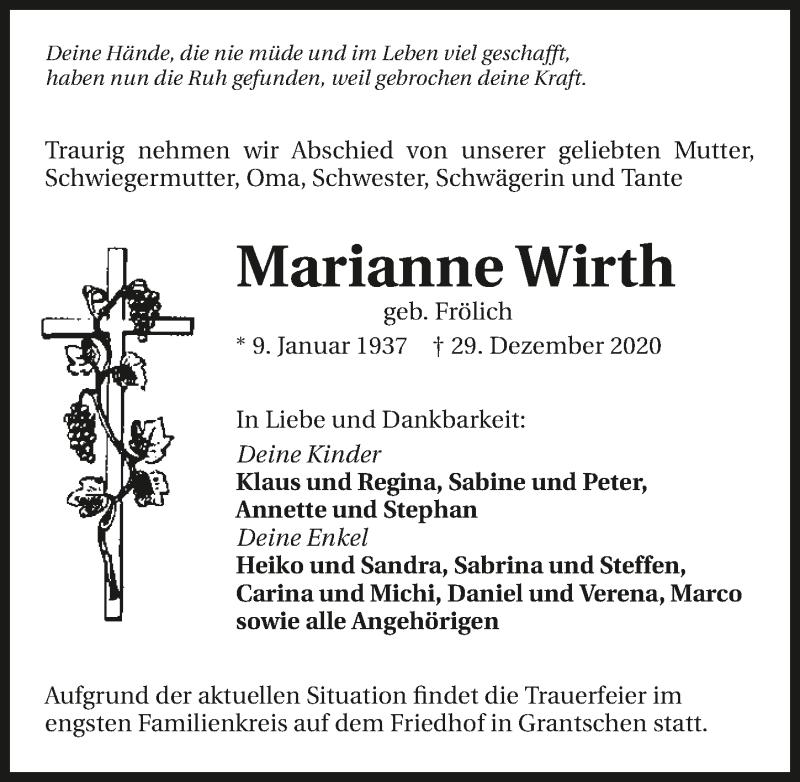 Traueranzeige für Marianne Wirth vom 02.01.2021 aus GESAMT