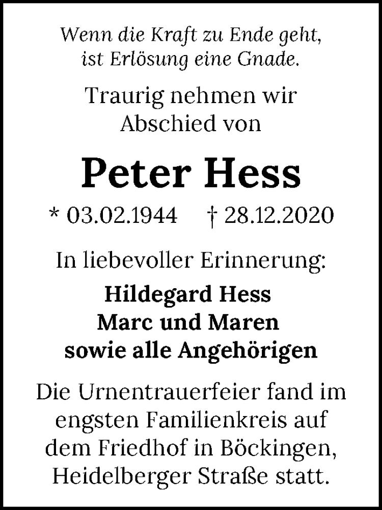 Traueranzeige für Peter Hess vom 08.01.2021 aus GESAMT