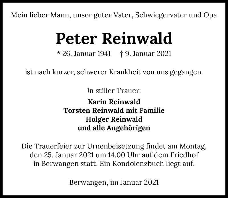 Traueranzeige für Peter Reinwald vom 14.01.2021 aus GESAMT