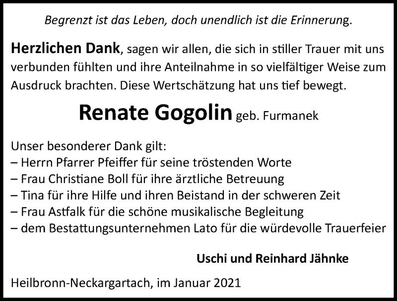 Traueranzeige für Renate Gogolin vom 05.01.2021 aus GESAMT