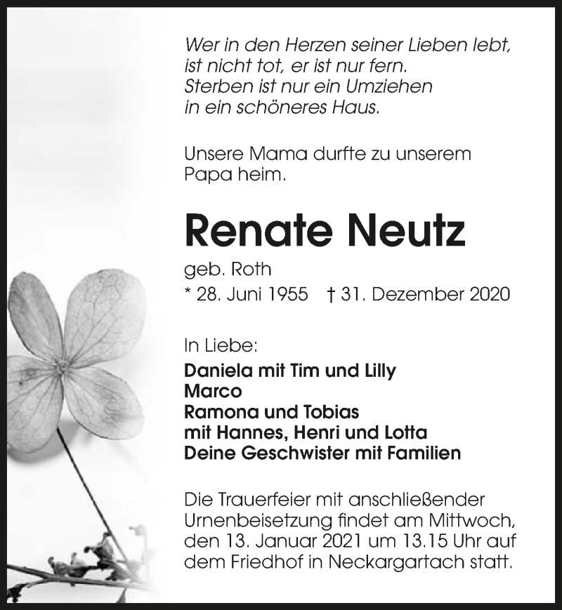 Traueranzeige für Renate Neutz vom 07.01.2021 aus GESAMT